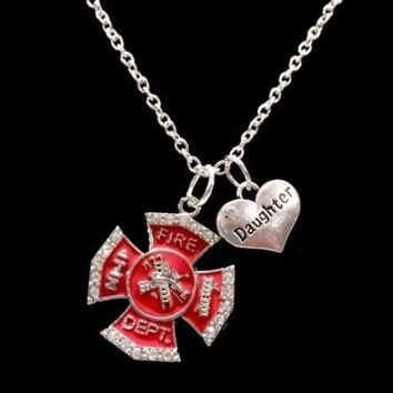 Red Maltese Cross Firefighter Daughter Fireman Firefighters Charm Necklace