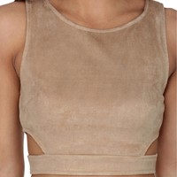 Taupe On Your Mark Suede Crop Top