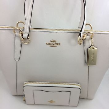 New Authentic COACH F57526 AVA Crossgrain Leather Tote Shoulder Bag Purse Chalk White+