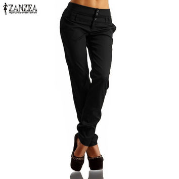 New Arrival ZANZEA Women Pants 2017 Autumn High Waist Buttons Zipper Solid Long Trousers Casual Slim