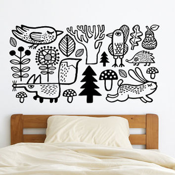 Wall decal / Forest / animals / home decor /  wall sticker