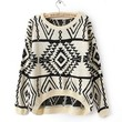 White Long and Short In Front Geometry Pullover Sweater