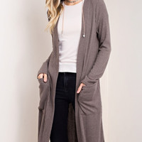 Charcoal Ribbed Maxi Sweater
