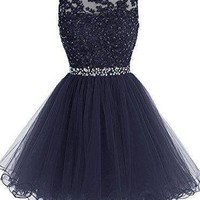 Blue Chiffon Beadings Homecoming Dress