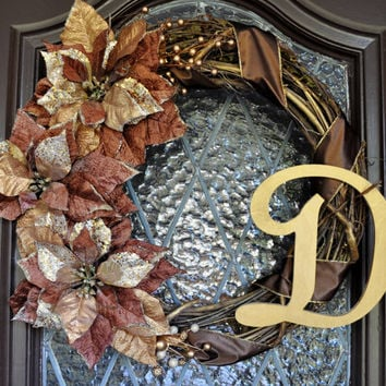 Christmas Wreath- Holiday Wreath, Gold Wreath, Brown Wreath, Winter Wreath, Personalized