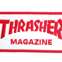 "THRASHER Red Logo Sew On Skater Punk Embroidered Patch 4""/10cm"