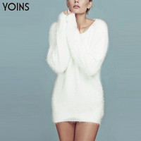 YOINS 2016 Spring New Arrival Women Mohair Sweater Dress Sexy V-Neck Knitted Mini Dresses Plus Size Long Kintwear Pullover Brand