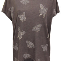 Jessie Butterfly Oversized Print Top in Charcoal Grey