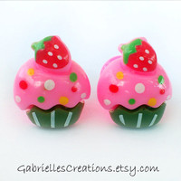 Cupcake Ear Plugs 8mm - Strawberry Sweet Neon Pink Flared Acryl Ear Plug Pair - Candy - Colorful Tubes - Handmade - Cute - Girly OOAK unique