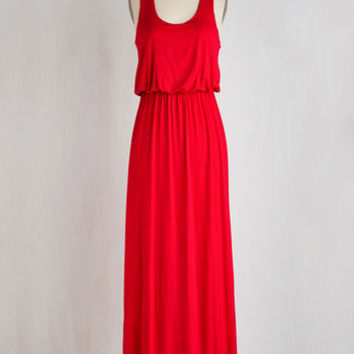 Minimal Long Tank top (2 thick straps) Maxi Breezy Night Stroll Dress in Red