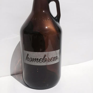 SALE - Home Brew Beer Growler 64oz - Laser Engraved Growler- Groomsman, Birthday, Homebrew, Valentine's Day