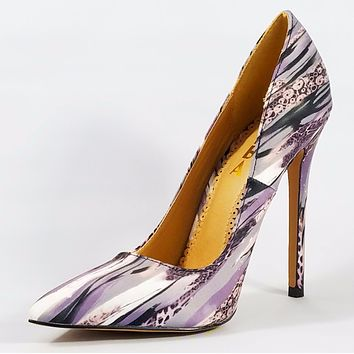 Alba Jamie Black Multi-colored Pointy Toe Pump Stiletto Heel