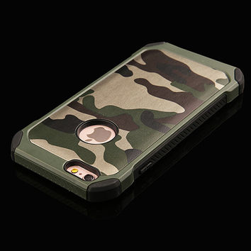 Green Camo Army 2 Piece Protection Phone Case For iPhone 7 7Plus 6 6s Plus 5 5s SE