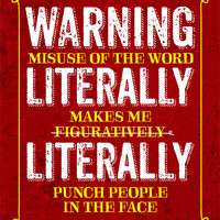 Funny Grammar Poster Literally Figuratively Librarian English Teacher Appreciation Gift / Gifts for Teachers Geekery Typographic Print