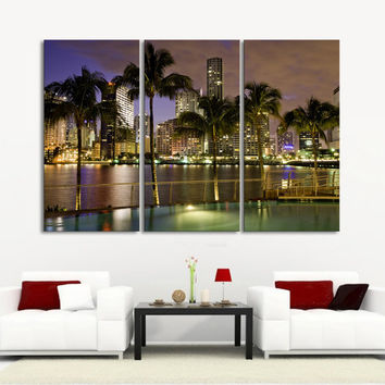 Retro world map canvas print sephia art from edecorshop on etsy canvas prints miami beach night landscape canvas print 3 panel streched giclee gumiabroncs Image collections