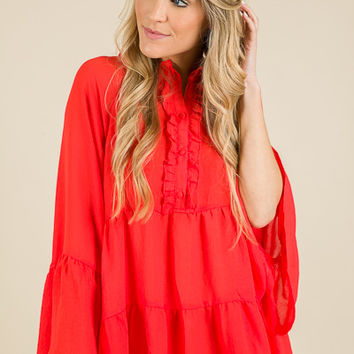 Oversized Babydoll, Hot Coral