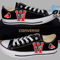 Hand Painted Converse Lo. Sumner Valley Wolfpack, Football and Cheer. Handpainted shoes.