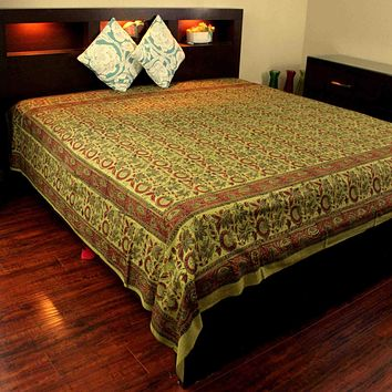 Cotton Floral Block Print Tapestry Tablecloth Coverlet Olive Green Twin Full