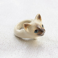 Kitten Head Ring Hand Painted Porcelain by And Mary