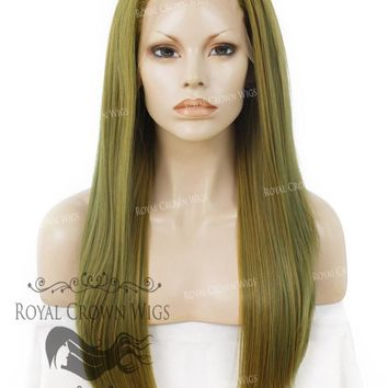 """24"""" Heat Safe Synthetic Straight Texture Lace Front """"Aphrodite"""" in Moss Green"""