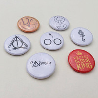 Harry Potter pin button badges, houses badge, DA, Dark mark, always, deathly hallows