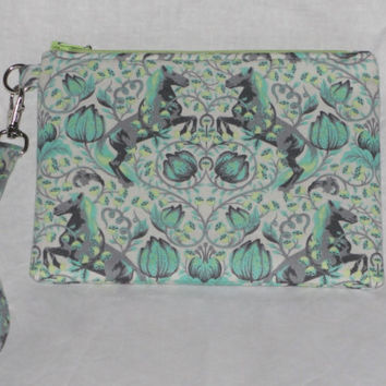 """Handmade Essential Wristlet Tula Pink """"Pony Play"""" with Scribbles Lining in Shade, Gray, Green, & Blue, Great Bridesmaid gift"""