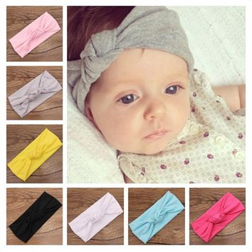 Baby Tie Knot Headband Knitted Cotton Toddler Turban / 9 color choices