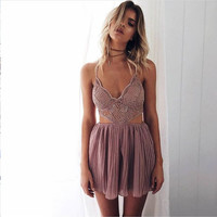 Women Summer Fashion Backless Hollow Out Pink Romper [11241432143]