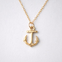 Anchor necklace, gold anchor with gold filled chain, nautical jewelry by jewelmint