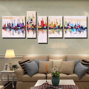 New York City Picture Canvas Painting 100% Hand painted American Style Modern Abstract Oil Painting On Canvas Wall Art Gift (180