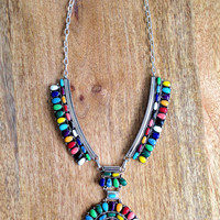 Navajo sterling silver multi stone necklace