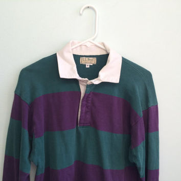 vintage ll bean green & purple rugby shirt
