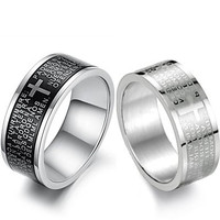 Intionix Shop Cool personality Scripture Titanium Steel Men's Black and White Cross Ring