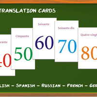 Large numbers translation cards - learn to count in Russian / French / German / Spanish / English, Play fun game + Learn a language
