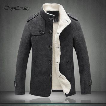ChoynSunday Winter Men Cotton Jacket Men Slim Wool Warm Outwear Coat Casual Stand Collar Mens Jacket And Coat Jaqueta Masculino