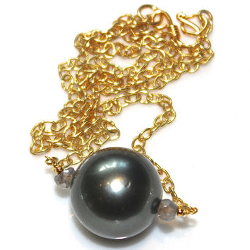 Huge Tahitian Pearl Necklace Statement Necklace Green Pearl Large Pearl Necklace Tahitian Pearl Jewelry Simple Necklace Everyday Jewelry