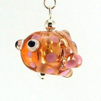 Pink Spotted Fish Hollow Lampworked Glass Bead Necklace
