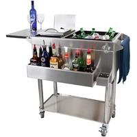 Glastender Portable Stainless Steel Cocktail Station Cart: Nickel Plated Casters