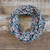 PRE-SEASON SALE Ready to Ship Aztec Fabric Turquoise Navy Coral Gray Cream Spring Infinity Scarf