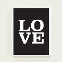 Black and White Love Wall Art Poster - Minimalist Love Typography Print