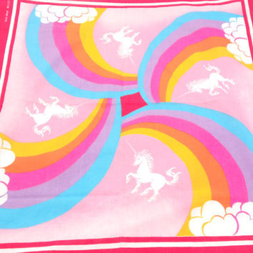 Vintage Unicorn Bandana Scarf - Rainbow Clouds Unicorn Bandana