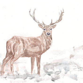 Deer in Snow Antlers Art Watercolor - Print my Original Painting 8x11 Animal Christmas Home Decor Illustration Brown Blue Gift Idea