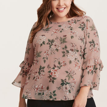 Floral Print Chiffon Ruffle Bell Sleeve Strappy Blouse