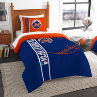 New York Mets MLB Twin Comforter Set (Soft & Cozy) (64 x 86)