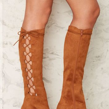 Nasty Gal Side Story Lace-Up Boot - Brown