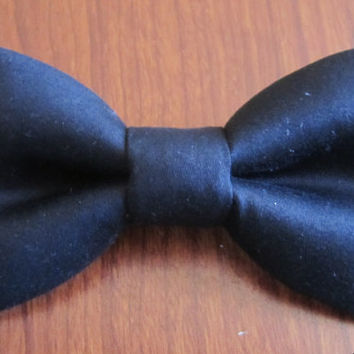 Black cotton bow tie, Men's black bow tie, black bow tie for boy, Boy black bow tie.