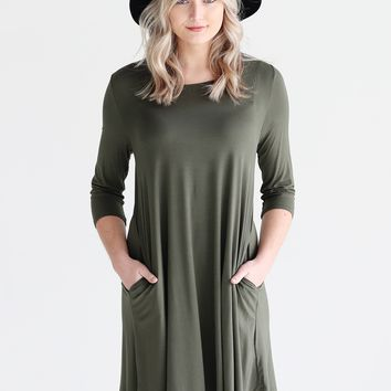 Army PIKO 3/4 Sleeve Pocket Swing Dress