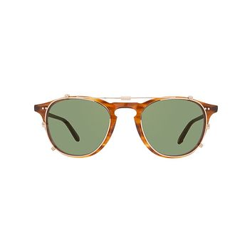 Garrett Leight - Hampton Clip M 44mm Gold Clip-On Sunglasses / Green Lenses