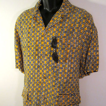 Men's Tribal Shirt - Mens Batik Shirt - Honeymoon Hawaiian Print Shirt - FREE SHIPPING