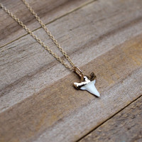 Real Gold Dipped Small Boho Shark Tooth Necklace